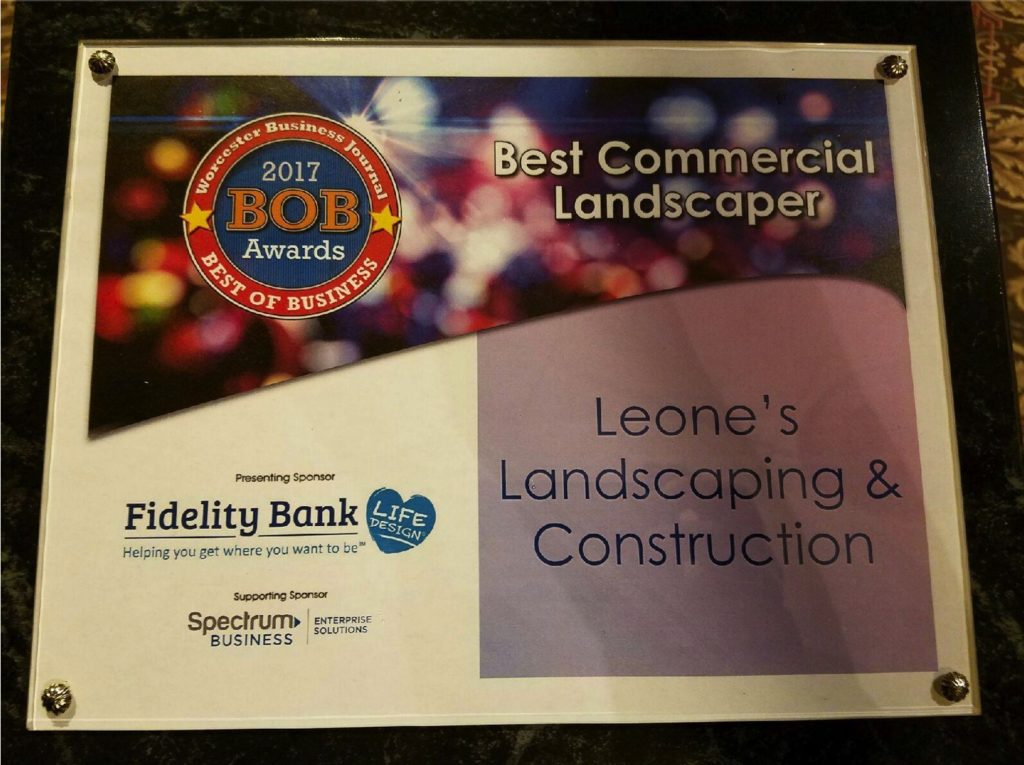 BOB Awards' Best Commercial Landscaper 2017 to Leone's Landscaping and Construction.